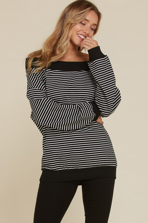 Melanie Off The Shoulder Stripe Top : Black