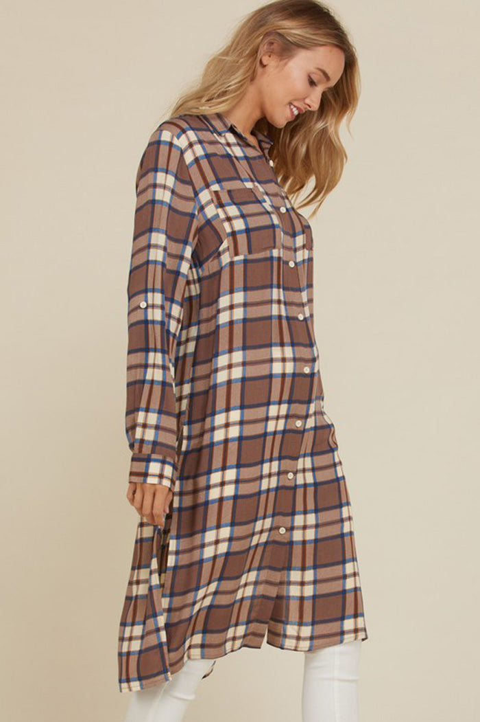 Melanie Plaid Button Down Top : Mocha