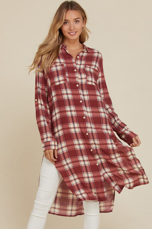 Melanie Plaid Button Down Top : Eggplant