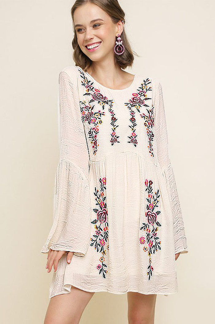 Melissa Floral Embroidered Dress : Purple