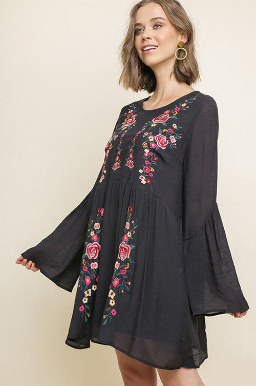 Melissa Floral Embroidered Dress : Black