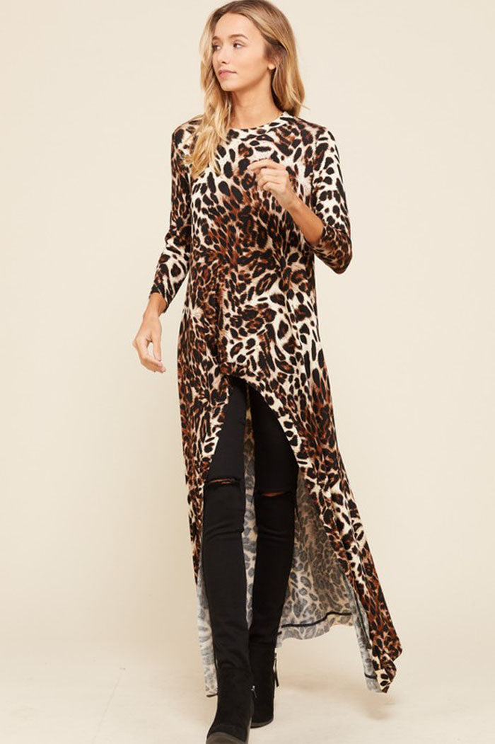 Melissa Leopard High Low Tunic Top : Leopard