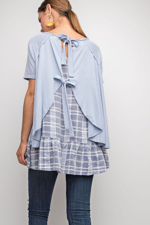 Melissa Plaid Mix Tie Back Babydoll Tunic : Slate