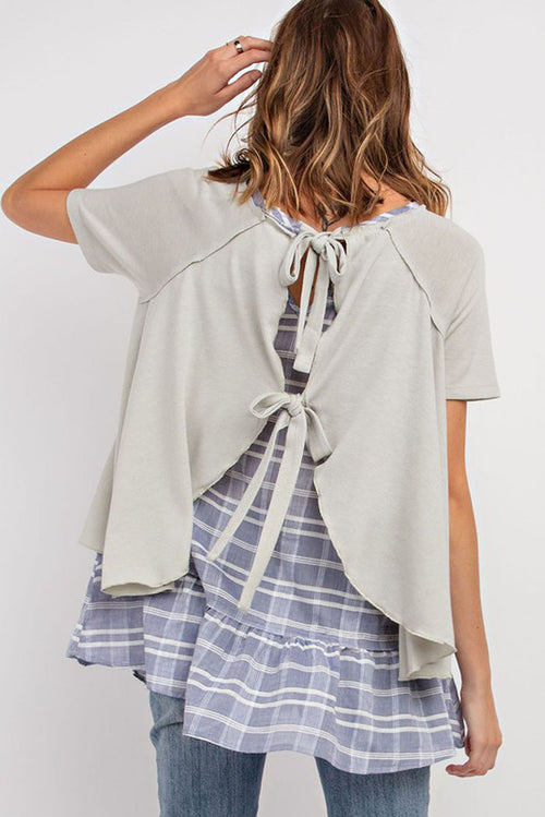 Melissa Plaid Mix Tie Back Babydoll Tunic : Sage