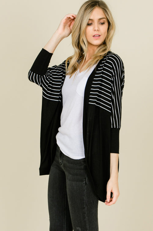 Michelle Stripe Dolman Sleeve Oversize Cardigan : Black