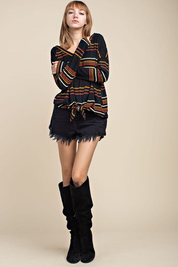Miles Multi-Color Stripe Front Tie Top : Black