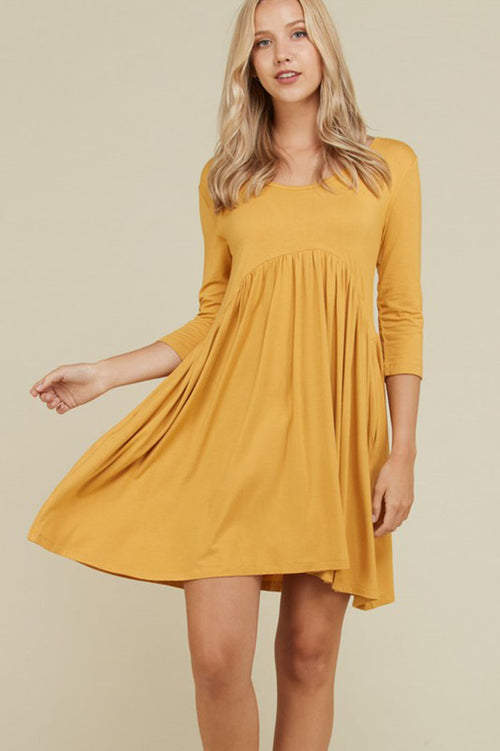 Piper Babydoll Solid Dress : Mustard