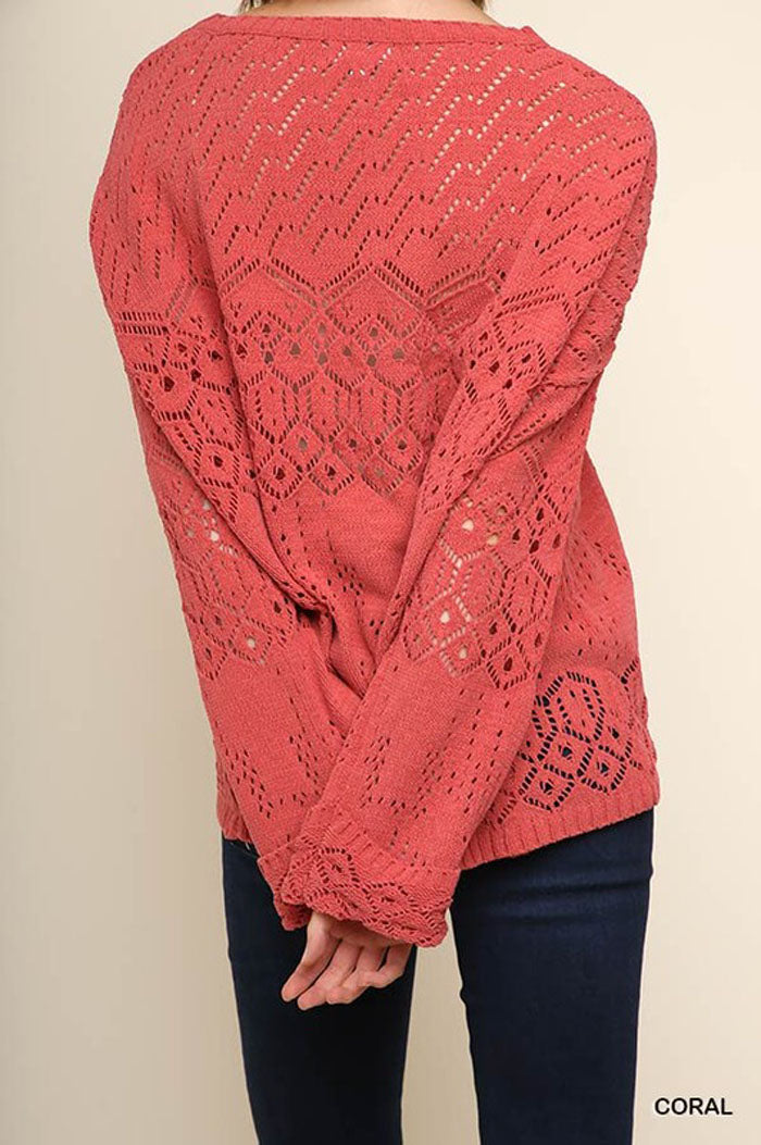 Nancy Cutout Knit Top : Coral