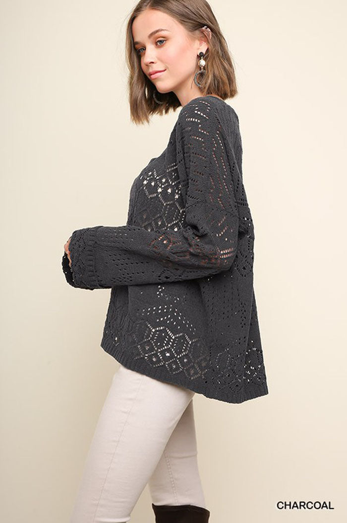 Nancy Cutout Knit Top : Charcoal