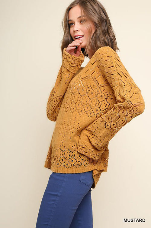 Nancy Cutout Knit Top : Mustard