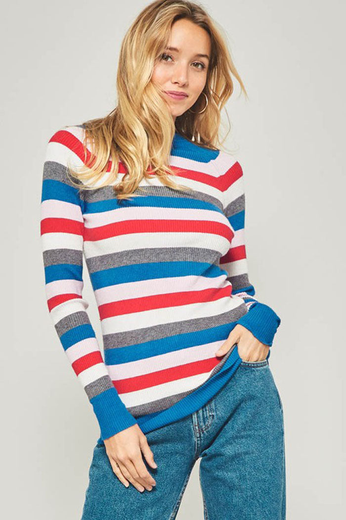 Nichole Multi-Color Stripe Ribbed Knit Top : Red Multi