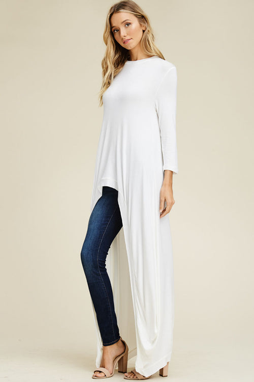 Nicole Hi-lo Tunic Top : Off White