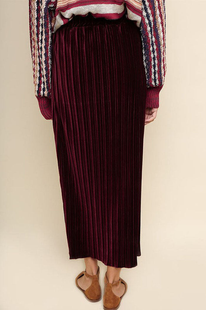 Pamela Ribbed Velvet Maxi Skirt : Wine