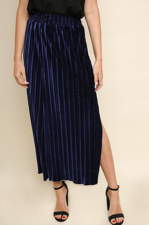 Pamela Ribbed Velvet Maxi Skirt : Navy