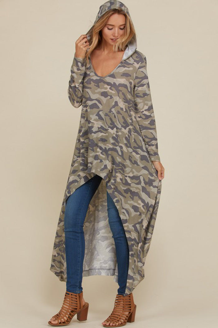 Phoebe Camo Hooded Top : Sage