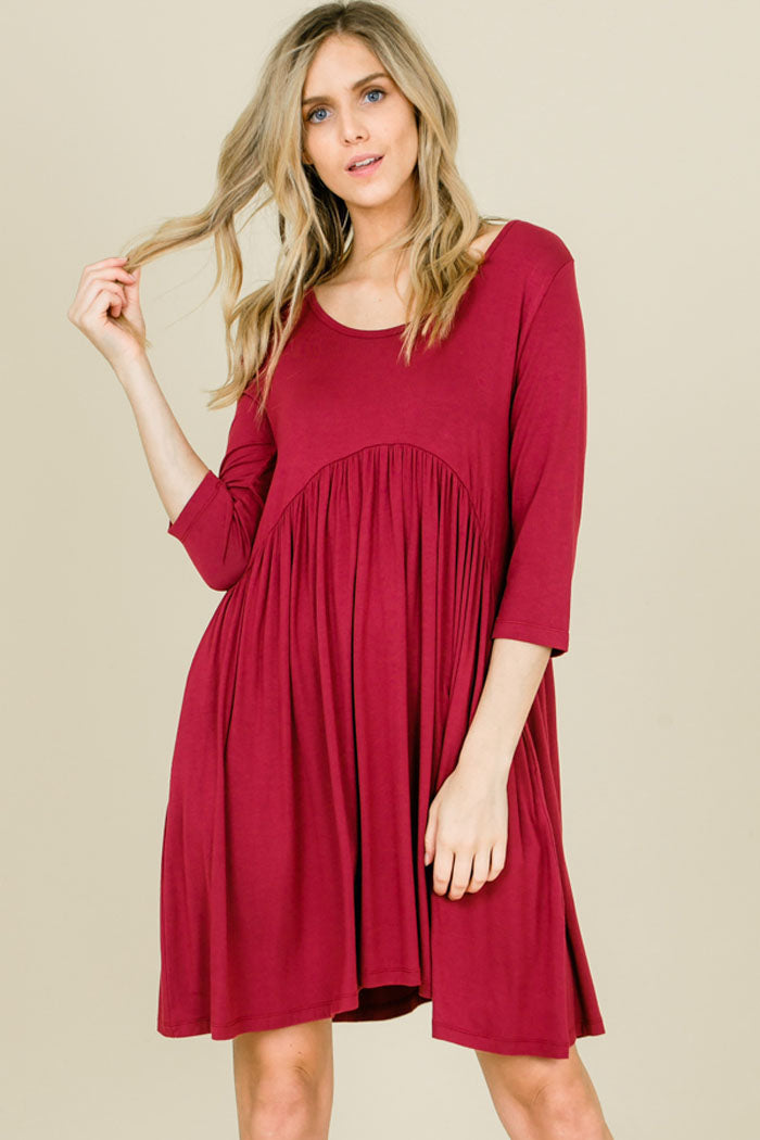 Piper Babydoll Solid Dress : Berry