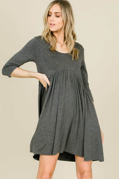 Piper Babydoll Solid Dress : Mid Grey