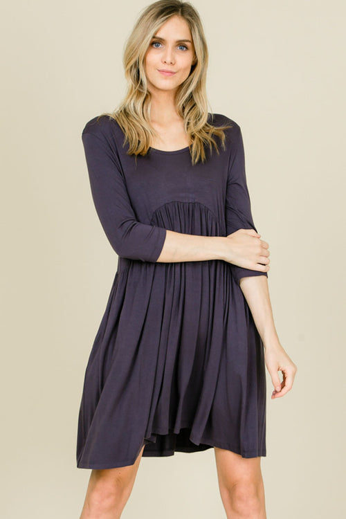 Piper Babydoll Solid Dress : Slate