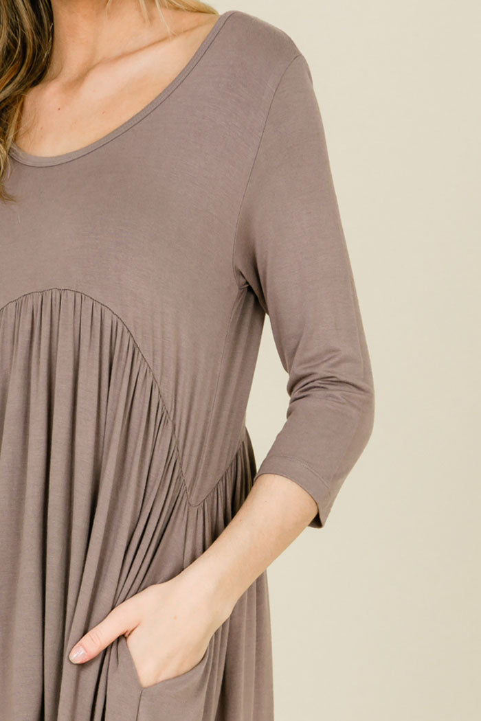 Piper Babydoll Solid Dress : Taupe Grey
