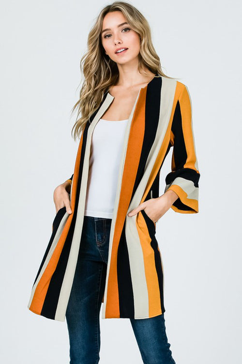 Piper Multi-Stripe Cardigan : Rust