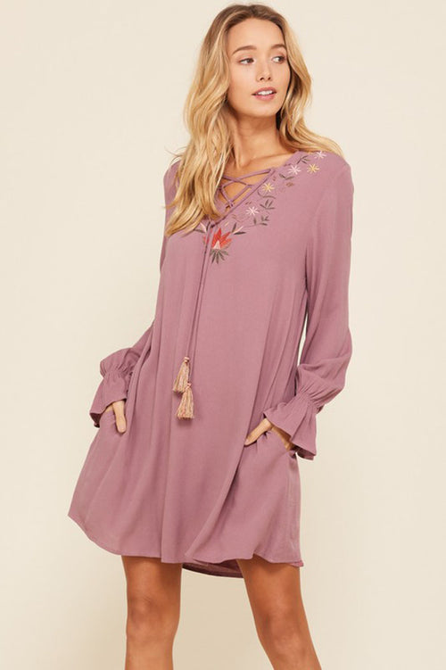 Raina Floral Embroidery Tassel Strap Dress : Dark Mauve