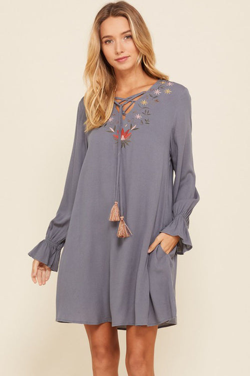 Raina Floral Embroidery Tassel Strap Dress : Charcoal