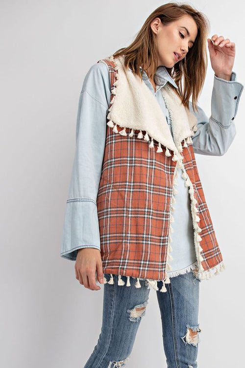 Rebekah Tasseled Plaid Vest : Clay