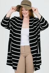 Runda Stripe Oversize Open Cardigan Plus : Black