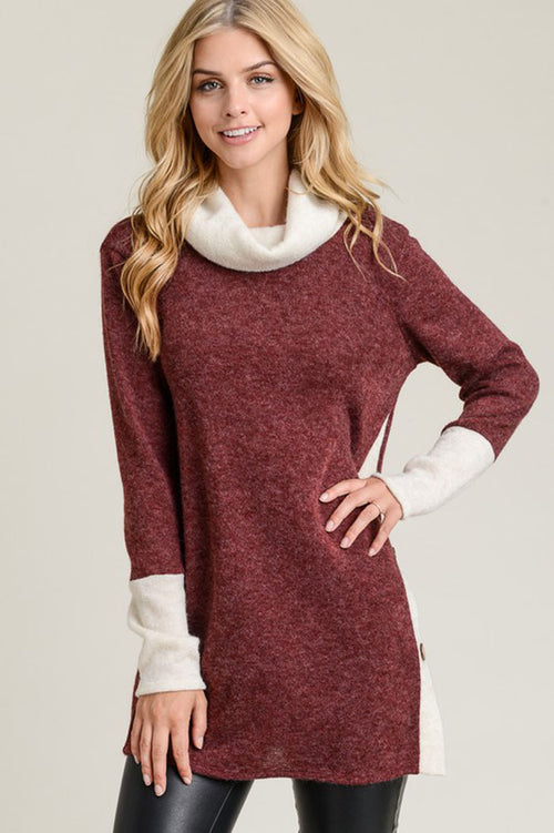 Sarah Contrasting Trim And Button Tunic Top : Burgundy