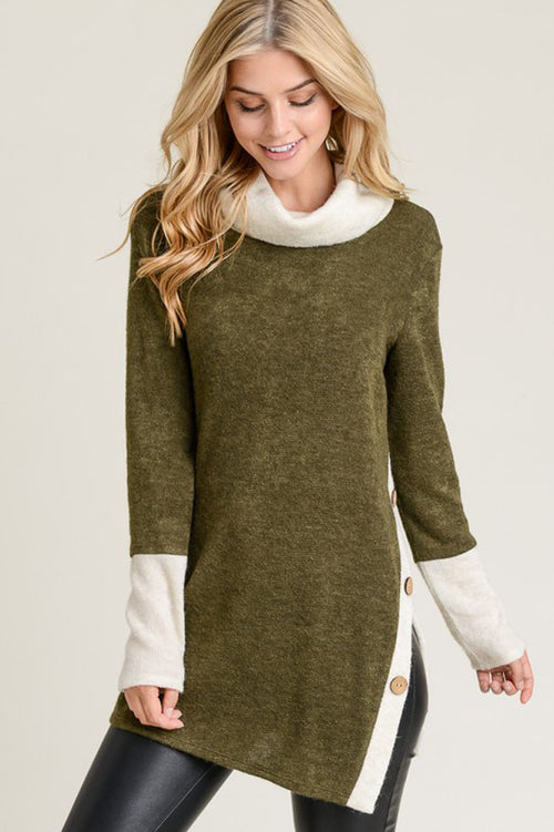 Sarah Contrasting Trim And Button Tunic Top : Olive