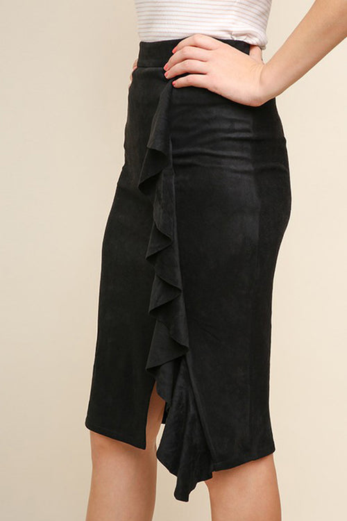 Sarah High Waist Suede Ruffle Skirt : Black