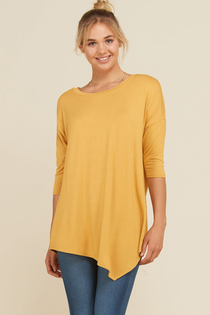 Stacy Solid Asymmetrical Hem Tunic Top : Berry