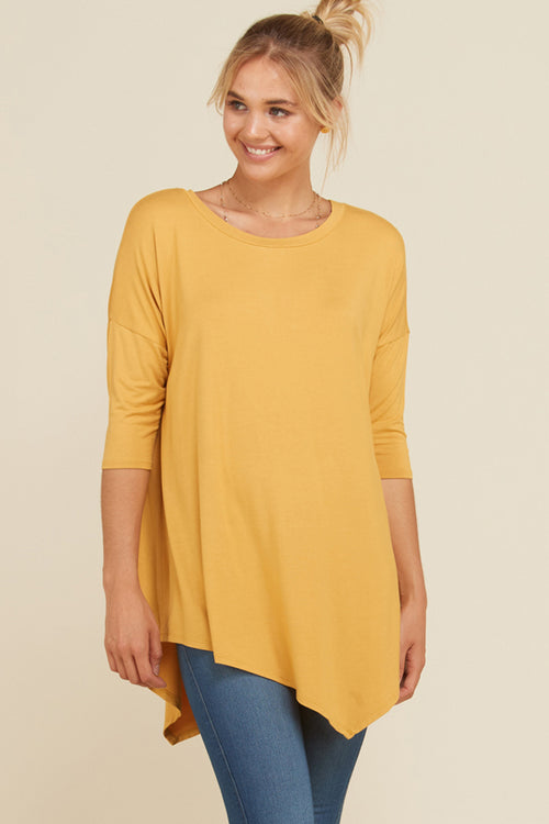 Stacy Solid Asymmetrical Hem Tunic Top : Mustard