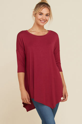 Michelle Crochet Button Back Color Block Top : Fuchsia