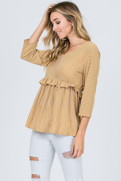 Stacy Striped Ruffle Trim Top : Mustard