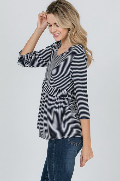 Stacy Striped Ruffle Trim Top : Navy