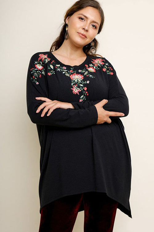 Stephanie Floral Embroidered Tunic Top Plus : Black