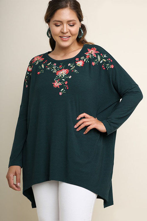 Stephanie Floral Embroidered Tunic Top Plus : Forest