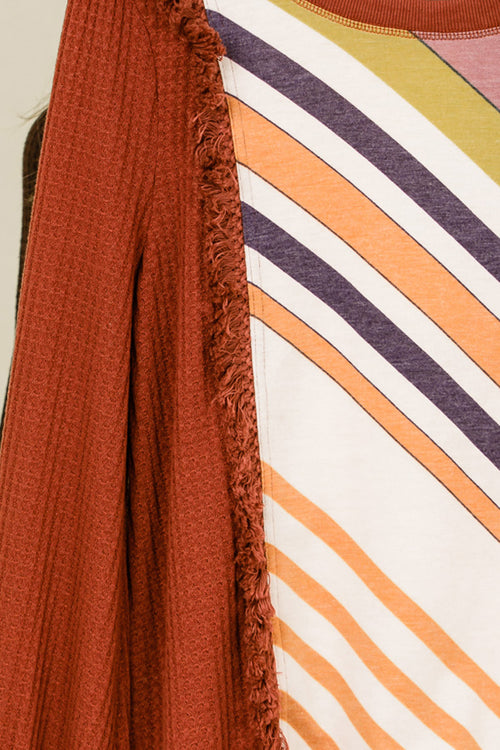 Susan Stripe Contrast Fringe Detail Top : Rust