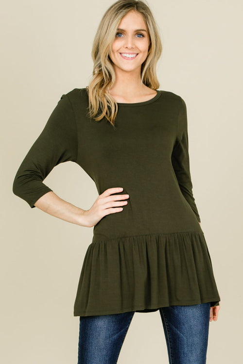 Talley Solid Relaxed Ruffle Hem Top : Olive