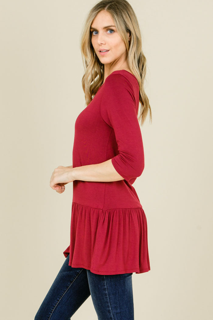 Talley Solid Relaxed Ruffle Hem Top : Berry
