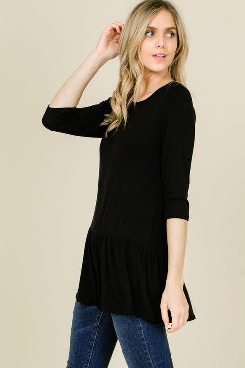 Talley Solid Relaxed Ruffle Hem Top : Black