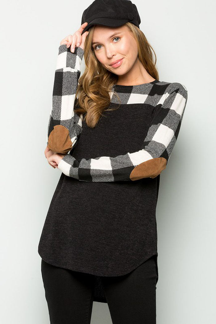 Tiffany Elbow Patch Plaid Tunic Top : Ivory/Black