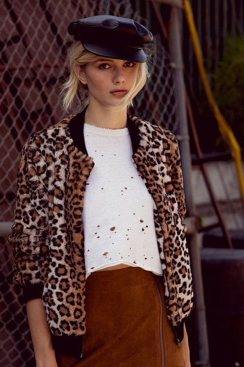 Tracy Leopard Zip Up Fur Jacket : Brown