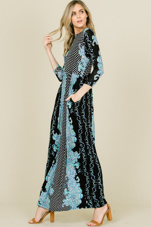Vicki Polka Dot Paisley Pattern Maxi Dress : Black