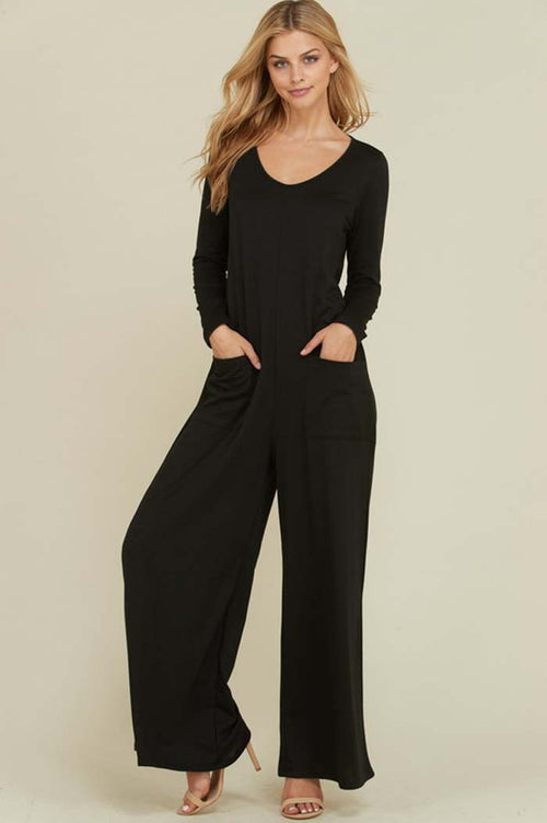 Victoria Long Sleeve Jumpsuits : Black