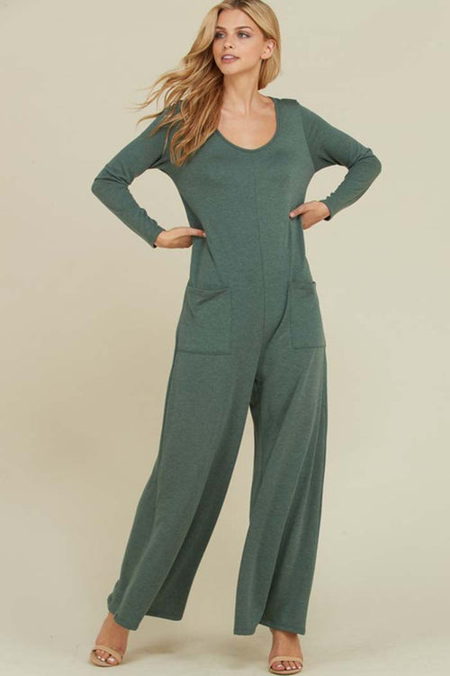 Victoria Long Sleeve Jumpsuits : Olive
