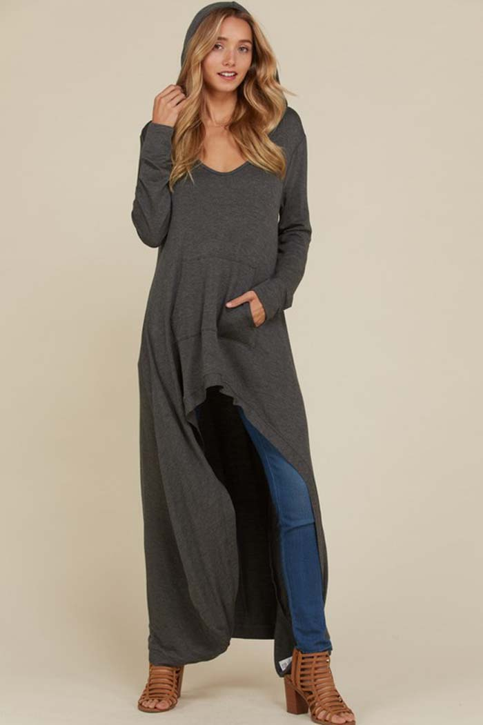 Vivian Hi-Lo Hooded Top : Mid Grey