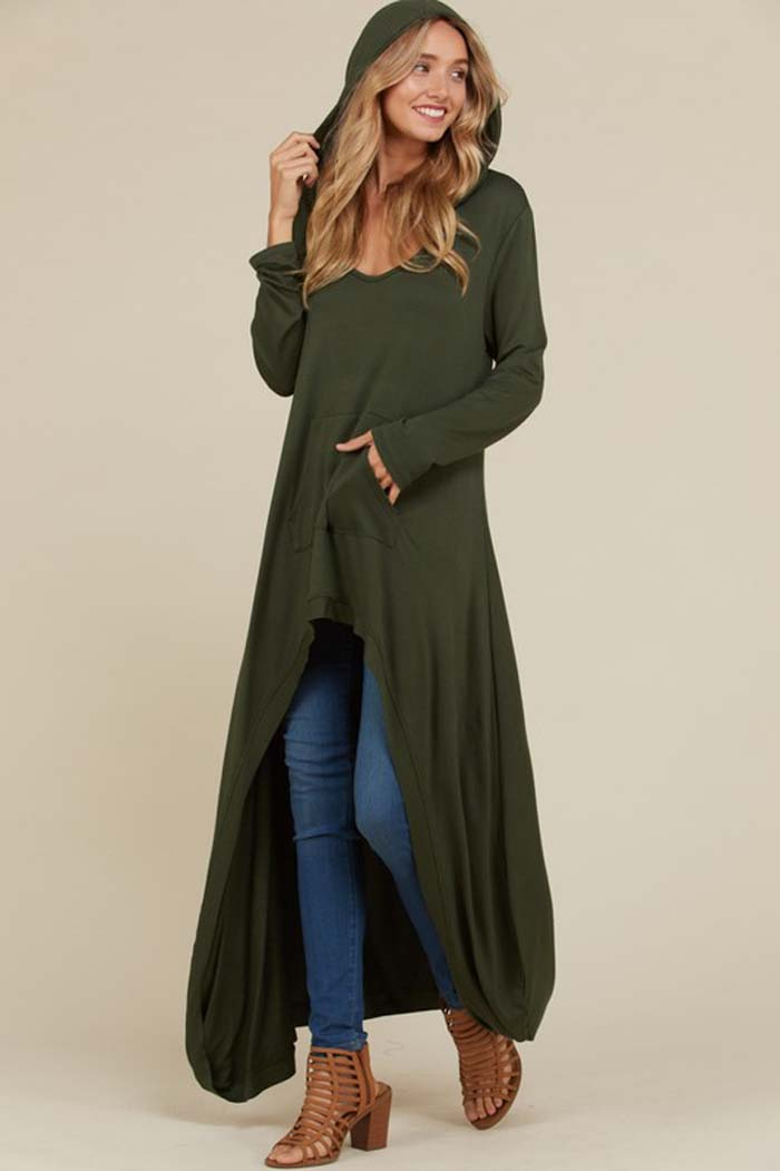 Vivian Hi-Lo Hooded Top : Olive