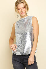 Wendy Sleeveless Sequin High Neck Top : Silver